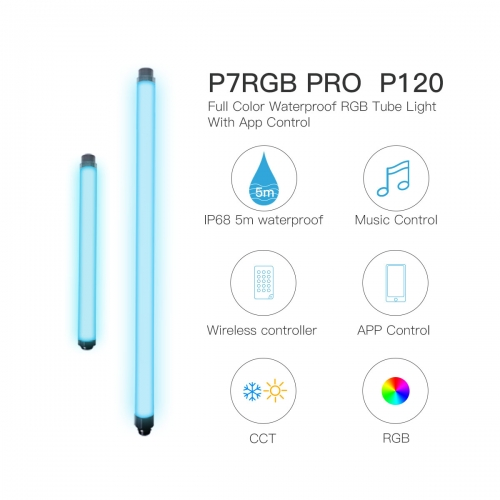 P120 P7RGB PRO 5m Waterproof IP68 RGB Tube Light with App Control Builtin Battery